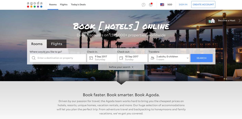 Agoda homepage