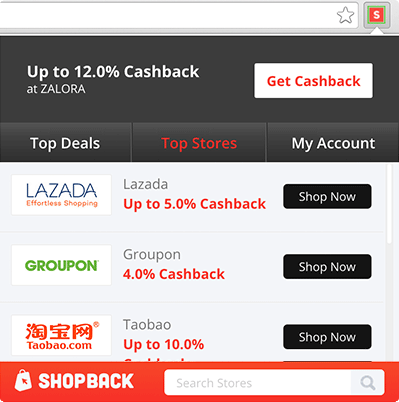 ShopBack Cashback Buddy - Cashback button menu