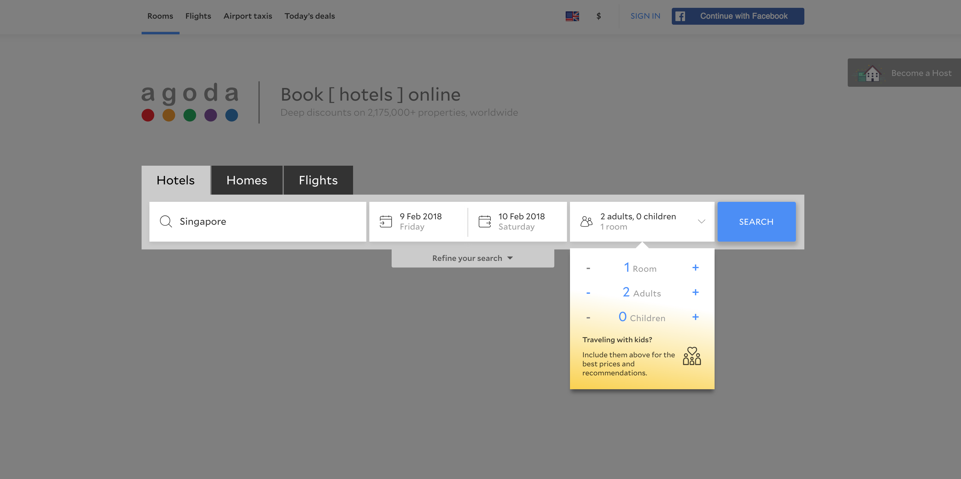 Agoda webpage inserting details