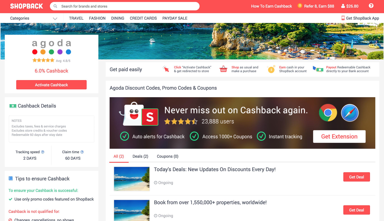 Agoda merchant page on ShopBack