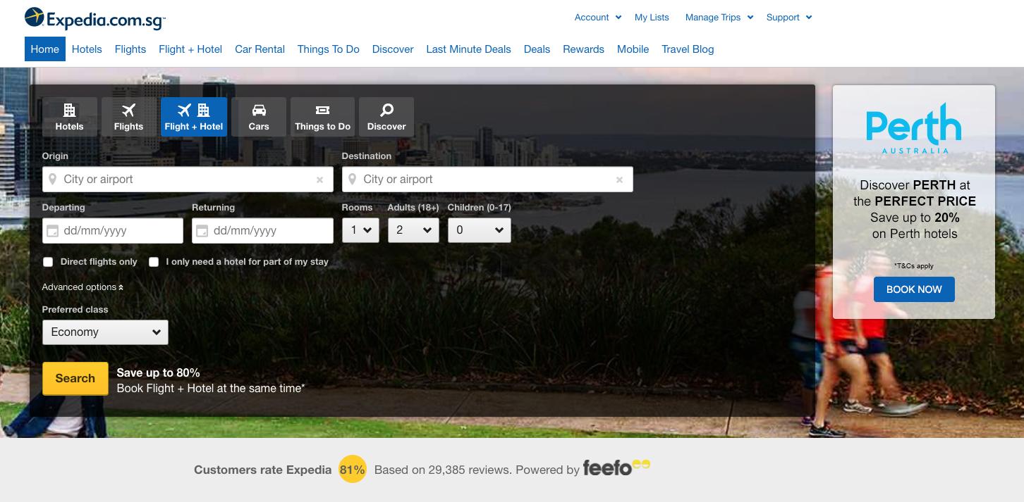 Expedia Homepage