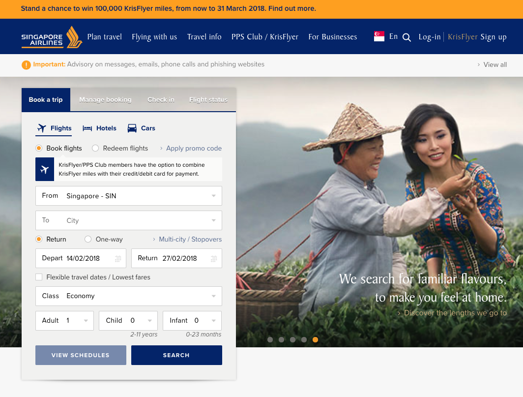 Singapore Airlines Front Page