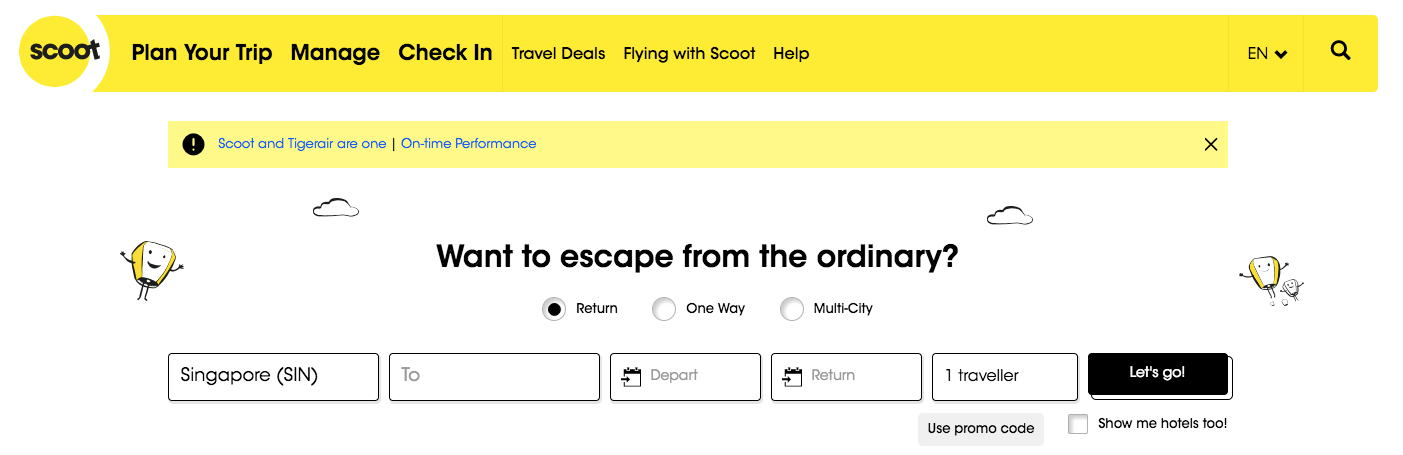 Scoot Homepage