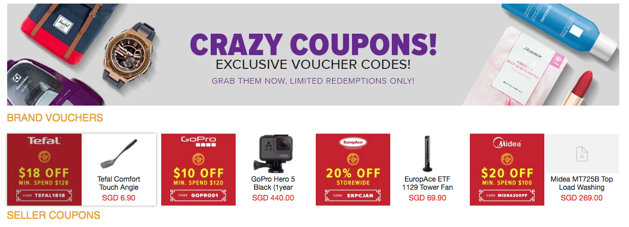 Lazada Sellers' Coupon Page