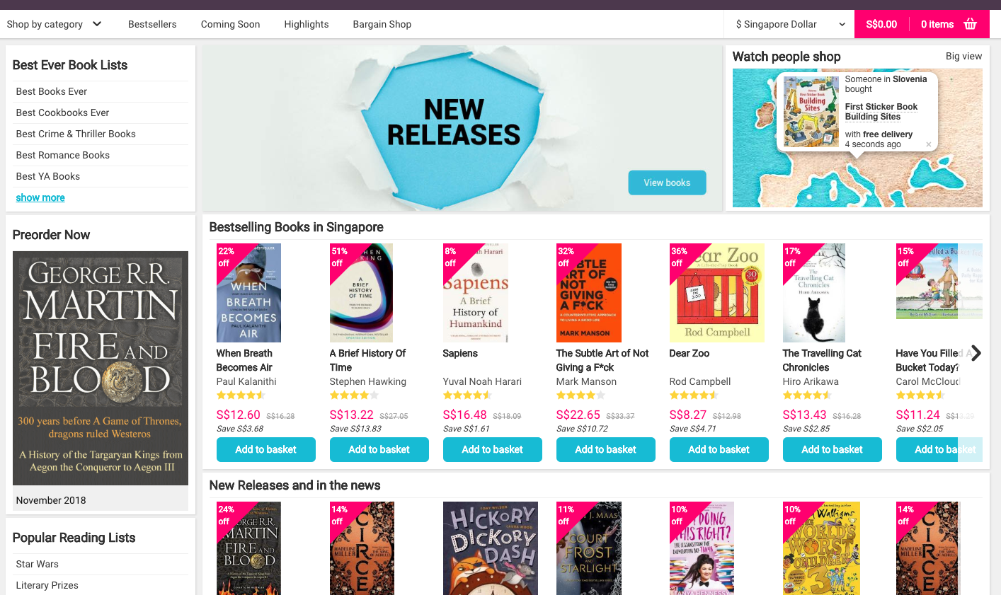 Book Depository Homepage