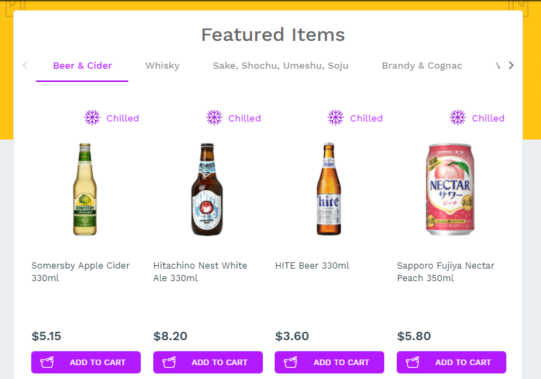 Alcohol Delivery Featured Items