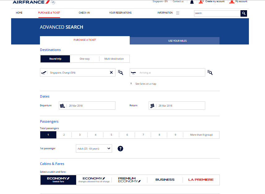 Air France Advance Search for Flights