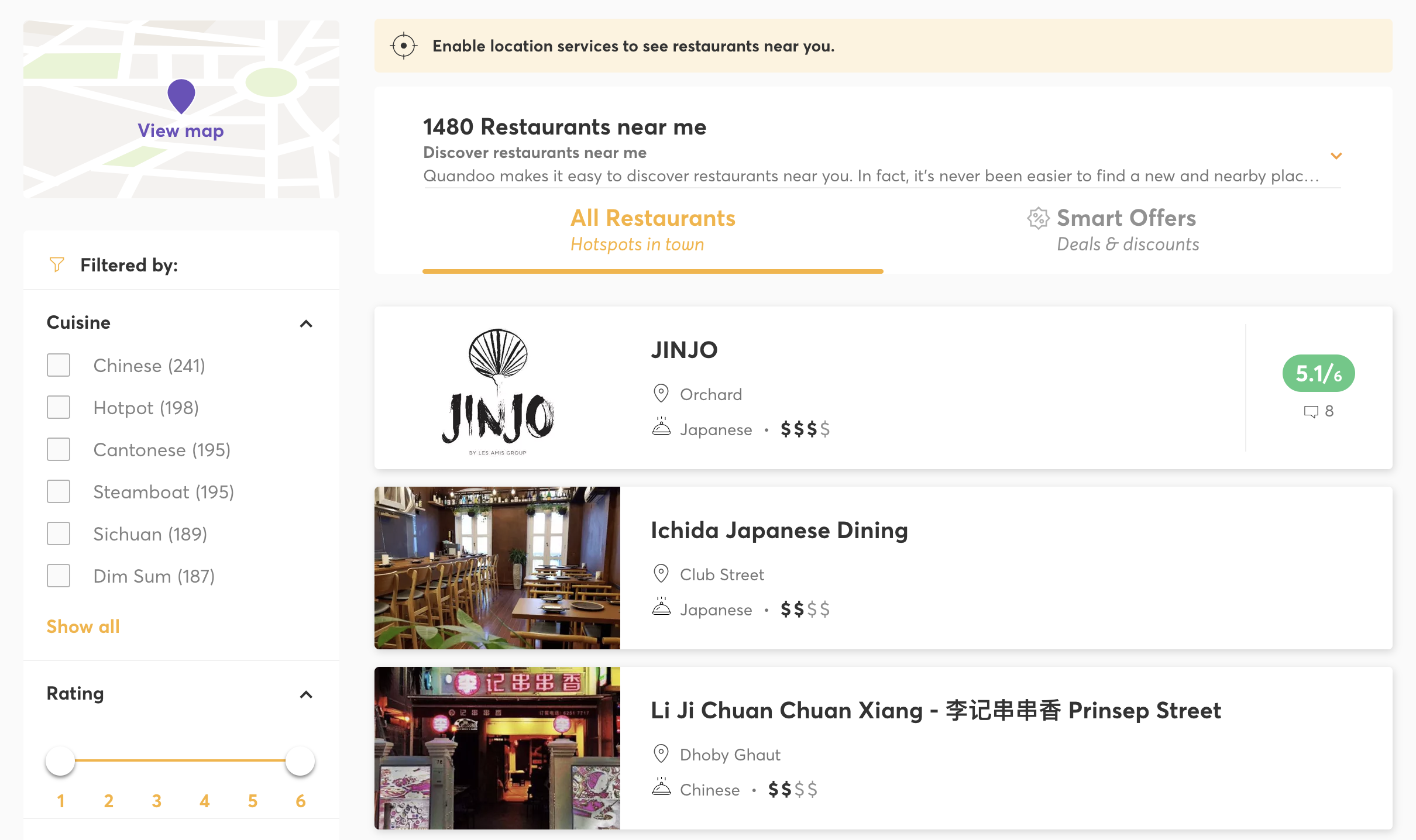 Restaurants Available in Quandoo