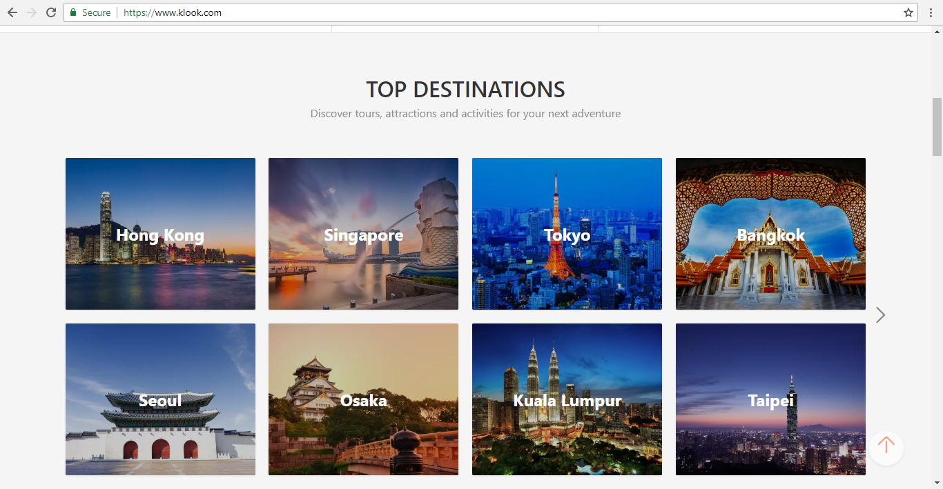 Klook Top Destinations