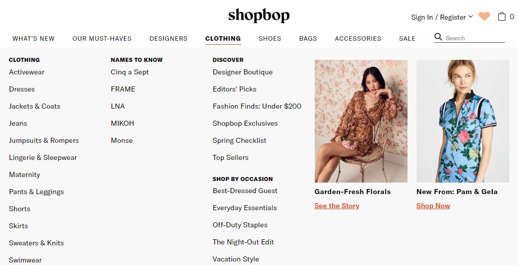 ShopBop Categories