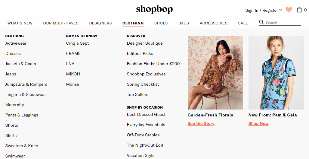ShopBop Categories