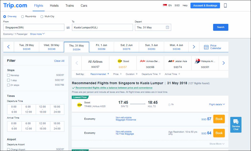 Trip.com Flight Details