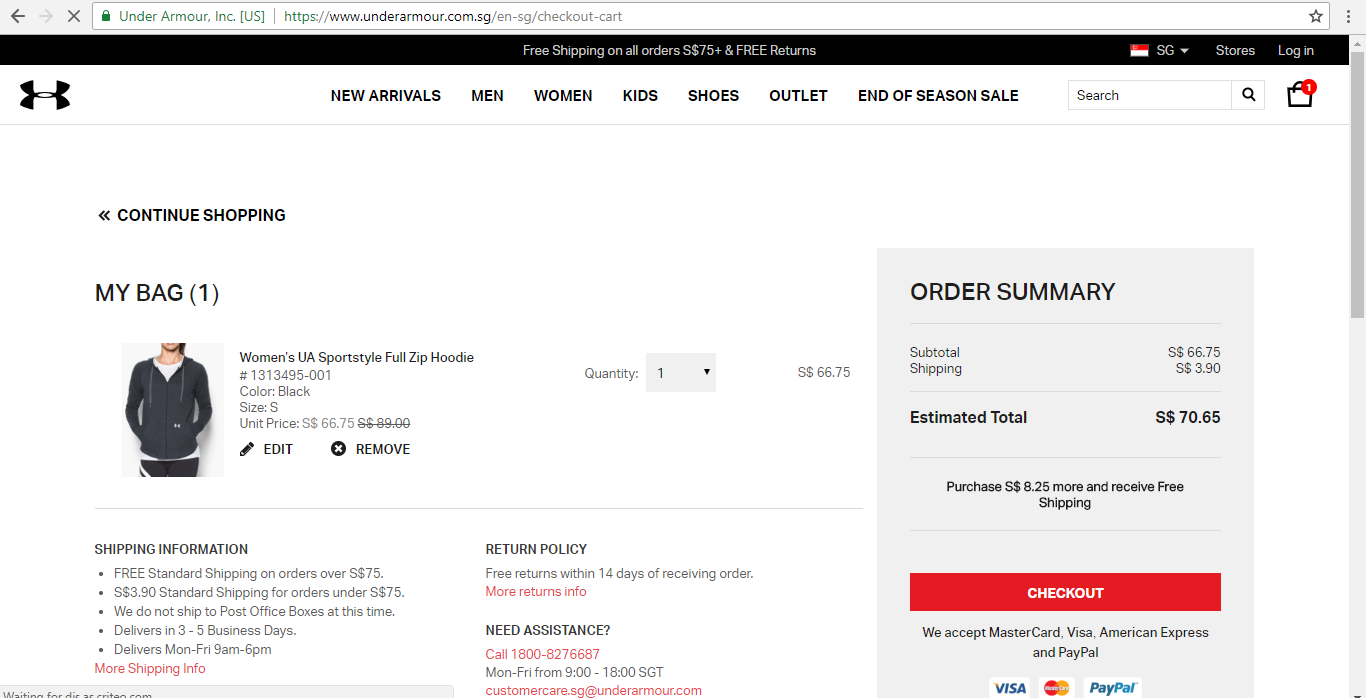 Under Armour Shipping Information