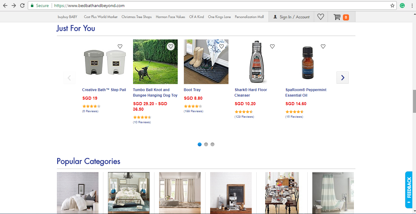 Bed, Bath & Beyond Popular