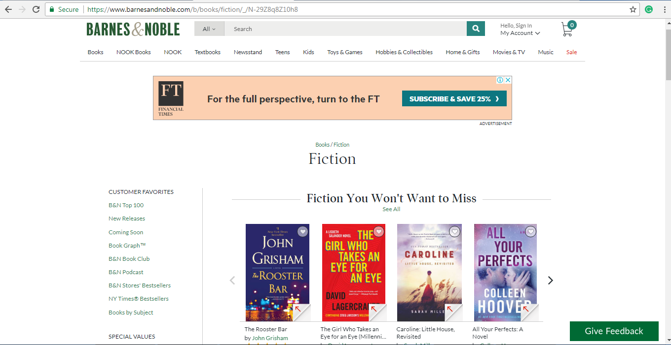 Barnes and Noble Fiction