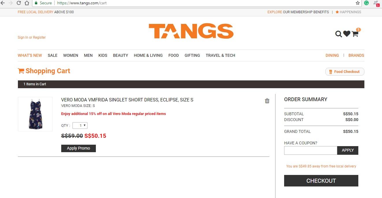 Tangs Checkout