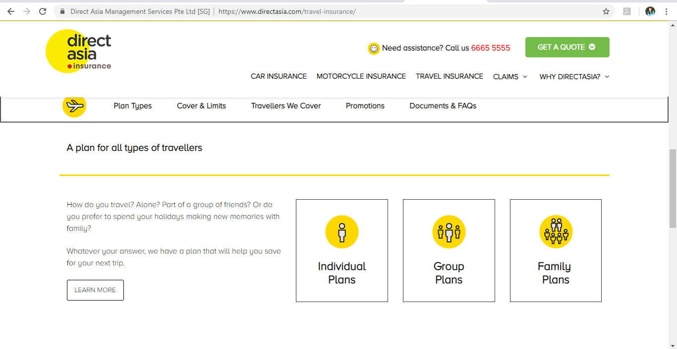 Direct Asia Types Of Travel Insurance Plans