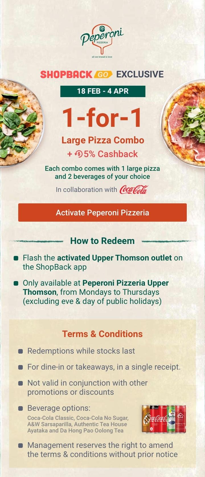 Peperoni Pizzeria 1-for-1 Pizza Combo