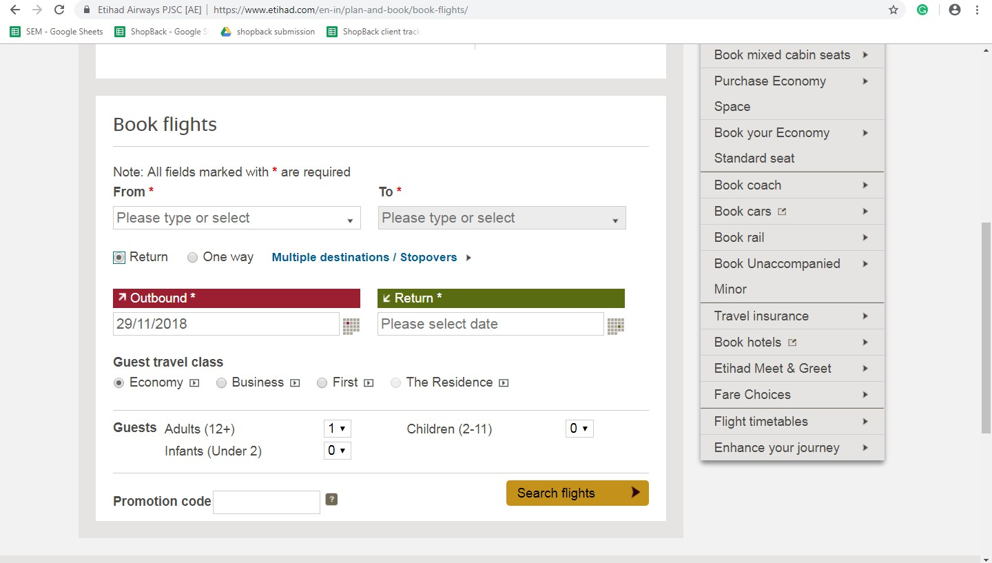 Booking on Etihad Airways Step 1