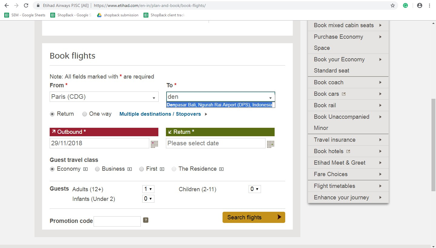 Booking on Etihad Airways step 2