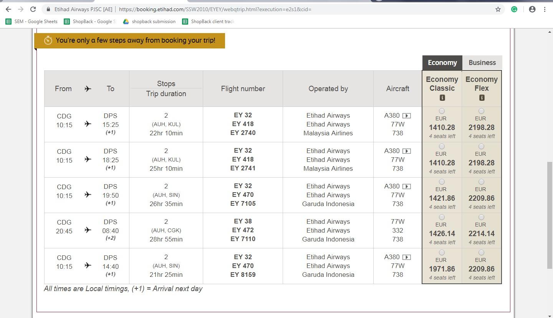 Booking on Etihad Airways Step 4