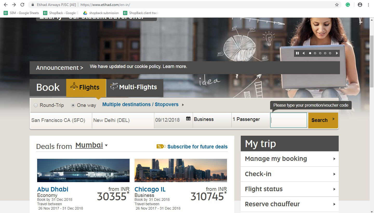 Redeem coupons on Etihad Airways