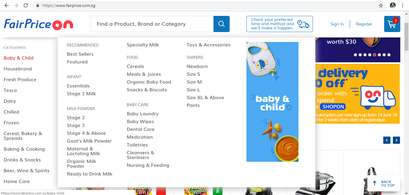 FairPrice On Baby & Child product page