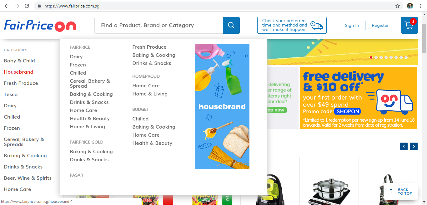 FairPrice On Housebrand Product page