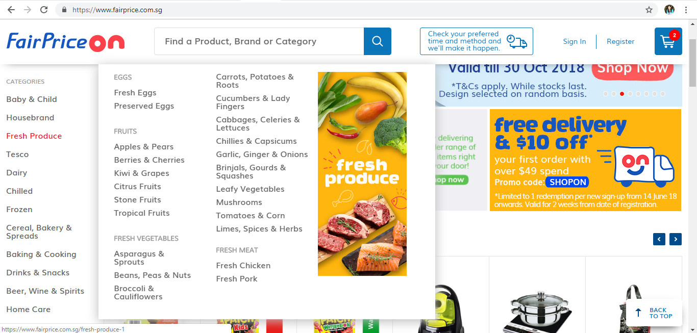 FairPrice On Fresh Produce product page