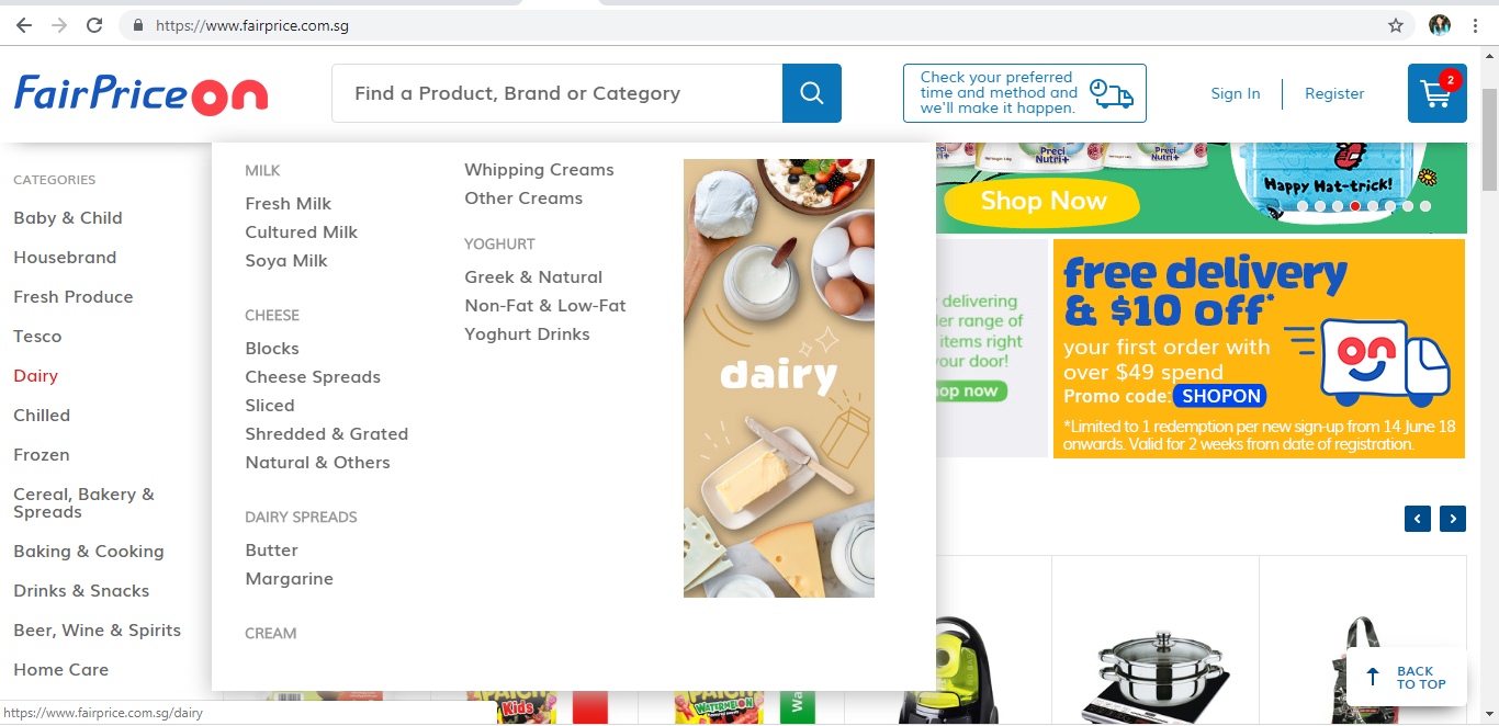 FairPrice On dairy product page