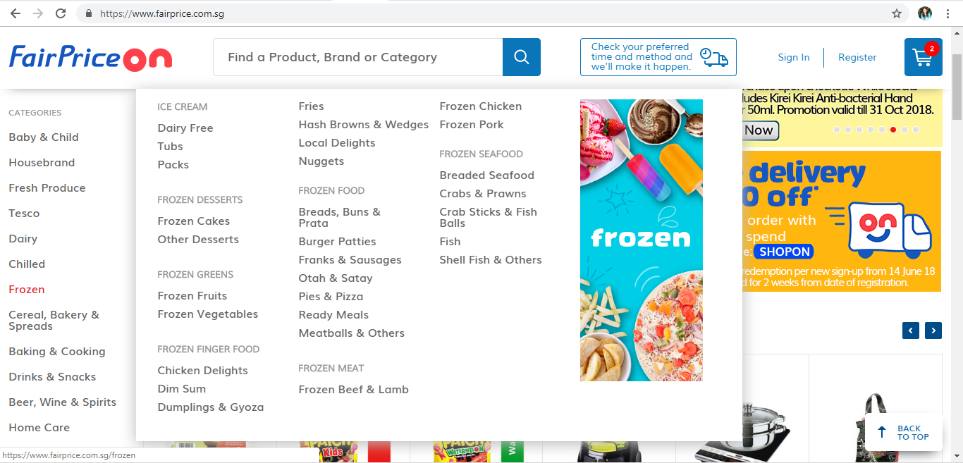 FairPrice On Frozen product page