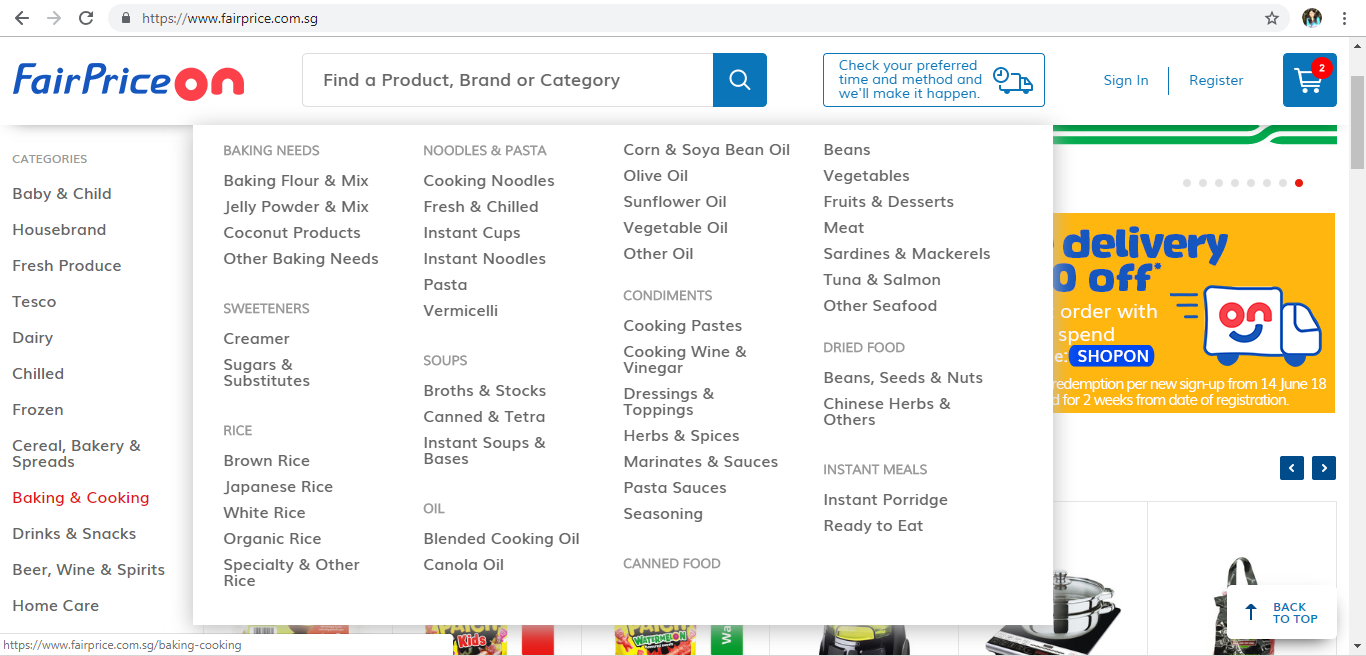 FairPrice On Baking & Cooking product page