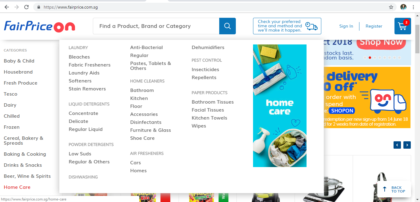 FairPrice On Home Care product page