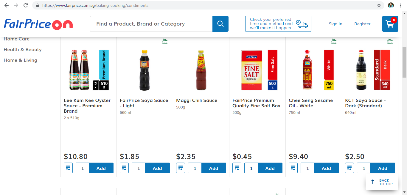 FairPrice On shop page products
