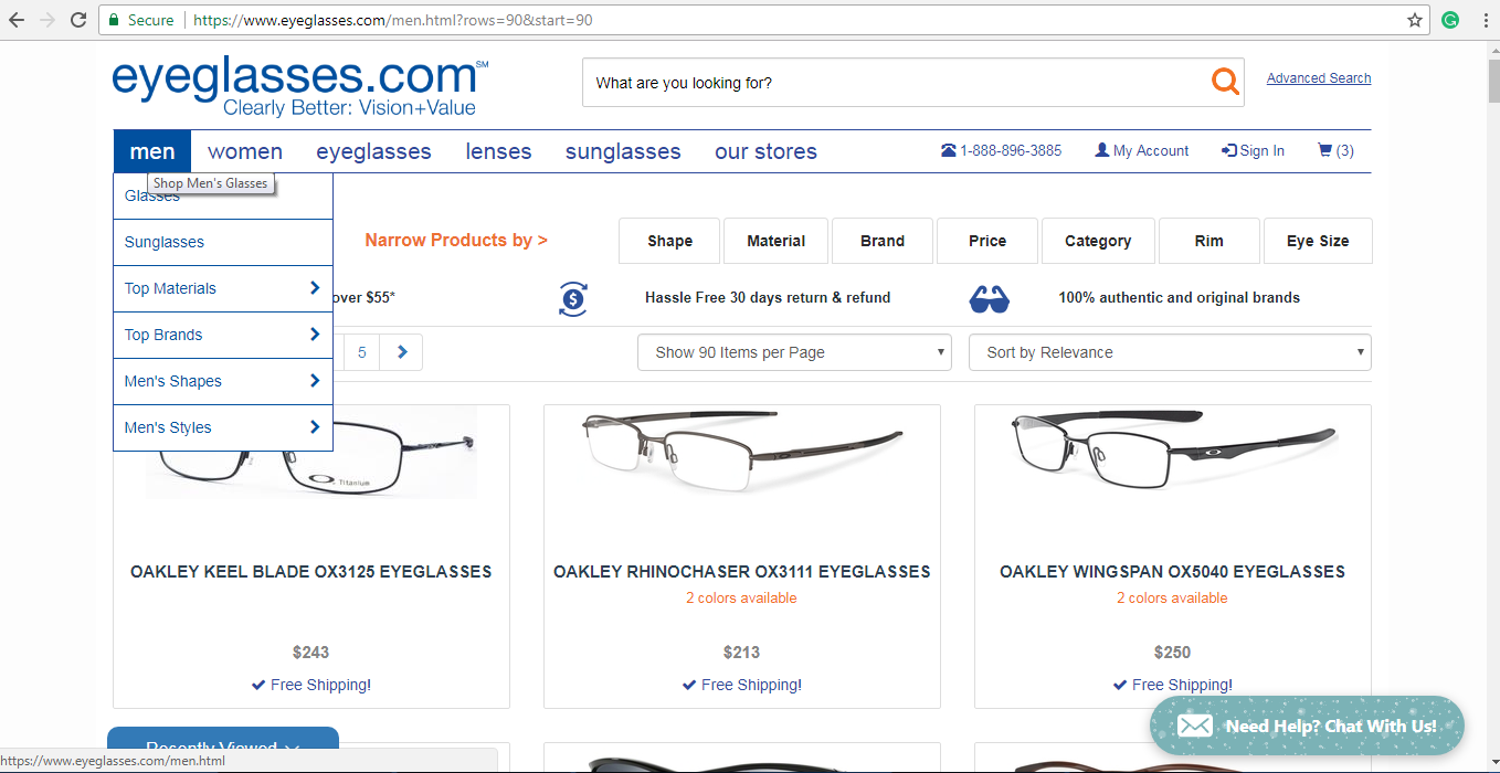 Eyeglasses.com men's spectacles page
