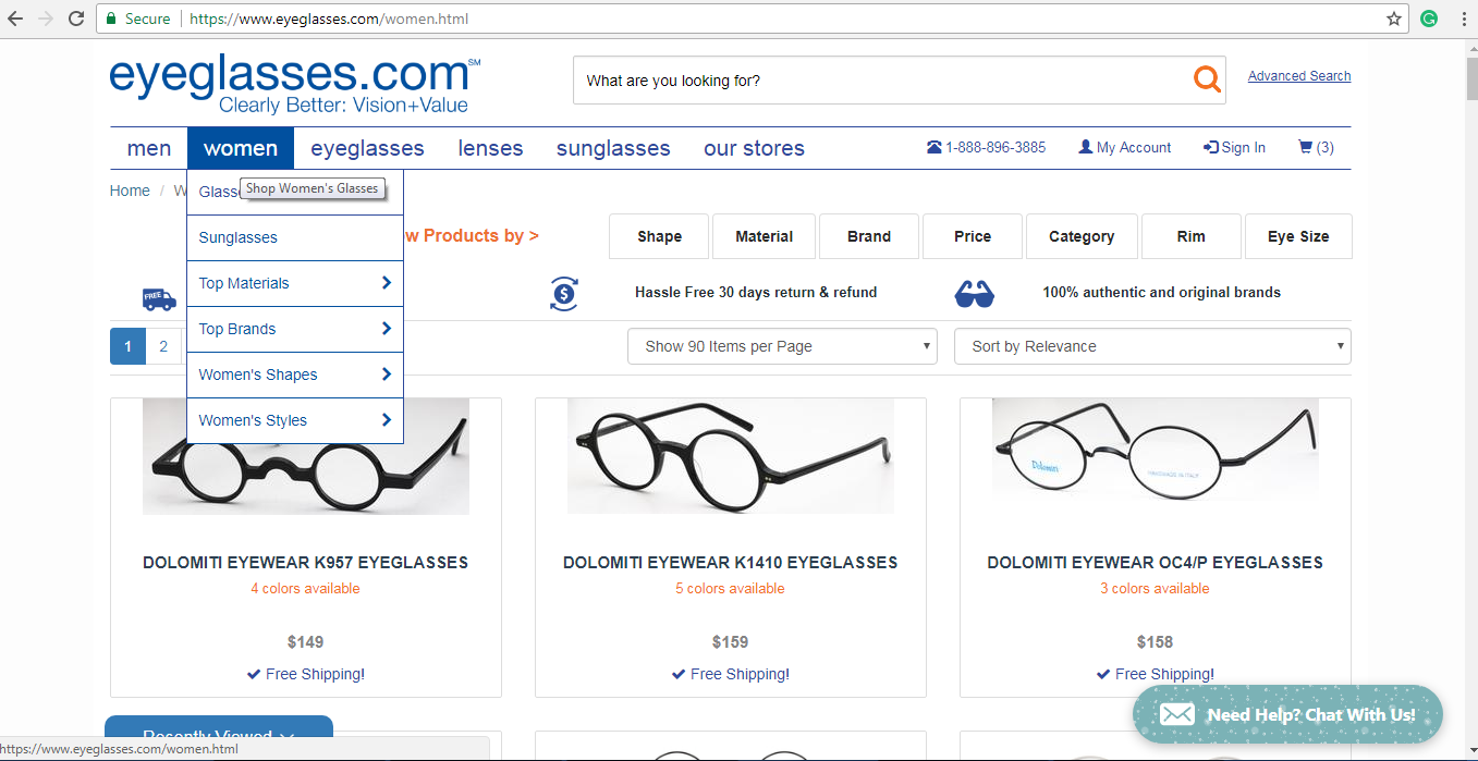 Eyeglasses.com women s spectacles page