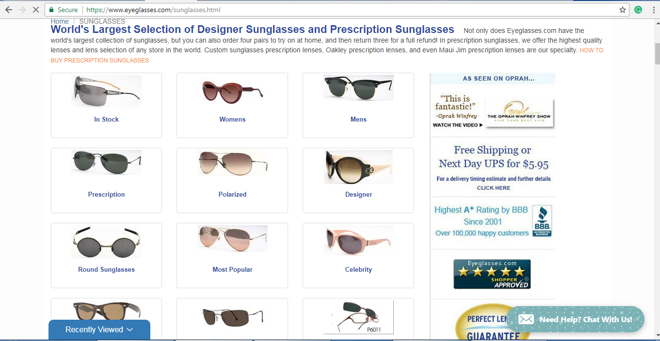 Eyeglasses.com sunglasses products page