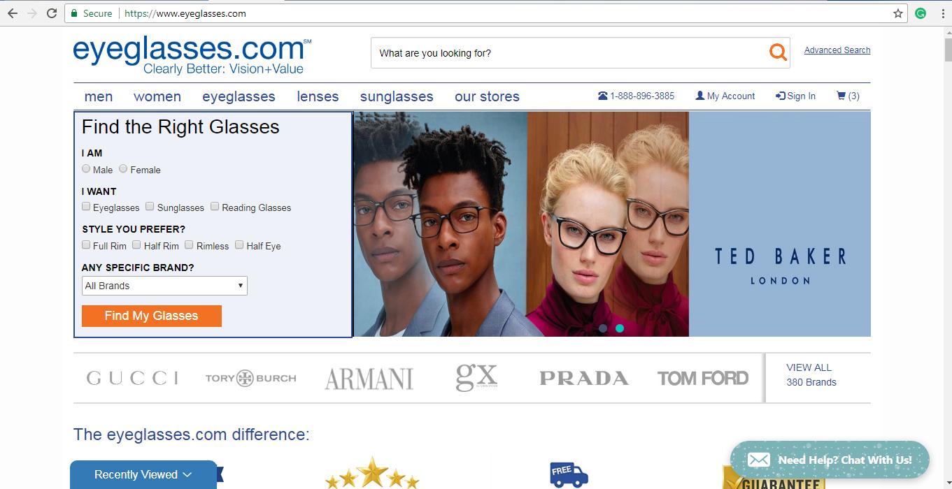 Eyeglasses.com Glasses finder