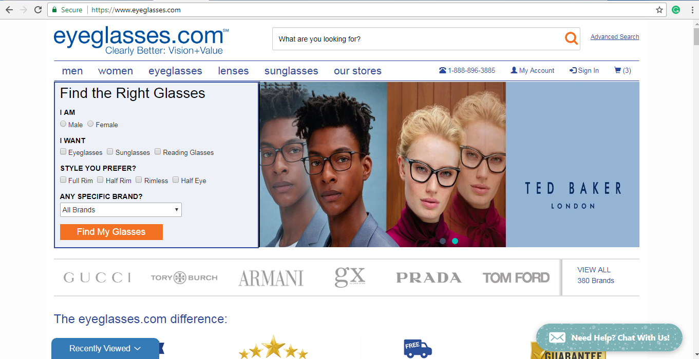 Eyeglasses.com Glasses finder