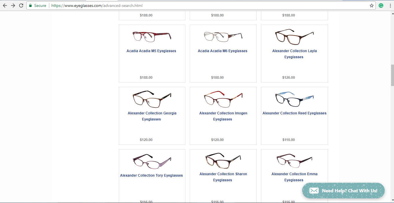 Eyeglasses.com catalogue of glasses