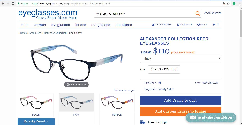 Eyeglasses.com product page