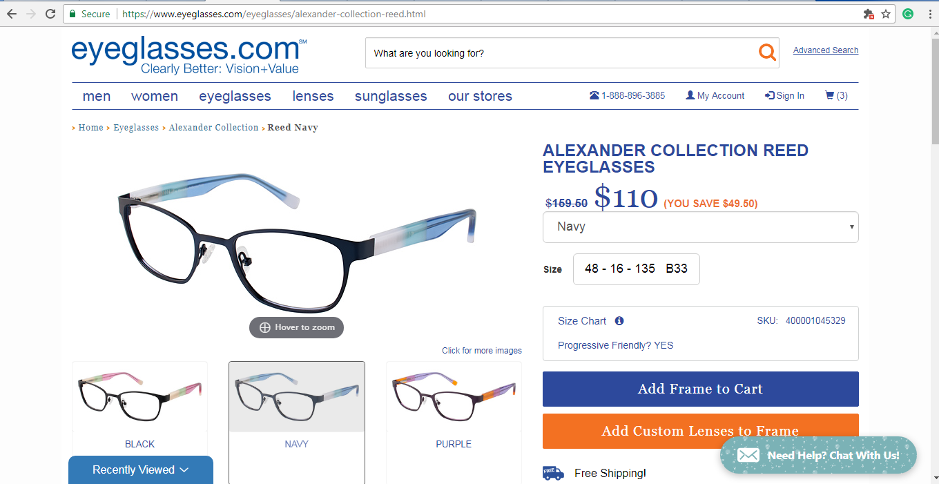 Eyeglasses.com product page