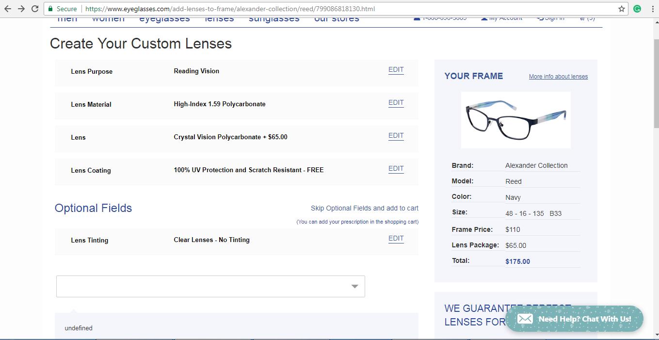 Eyeglasses.com lens customisation page