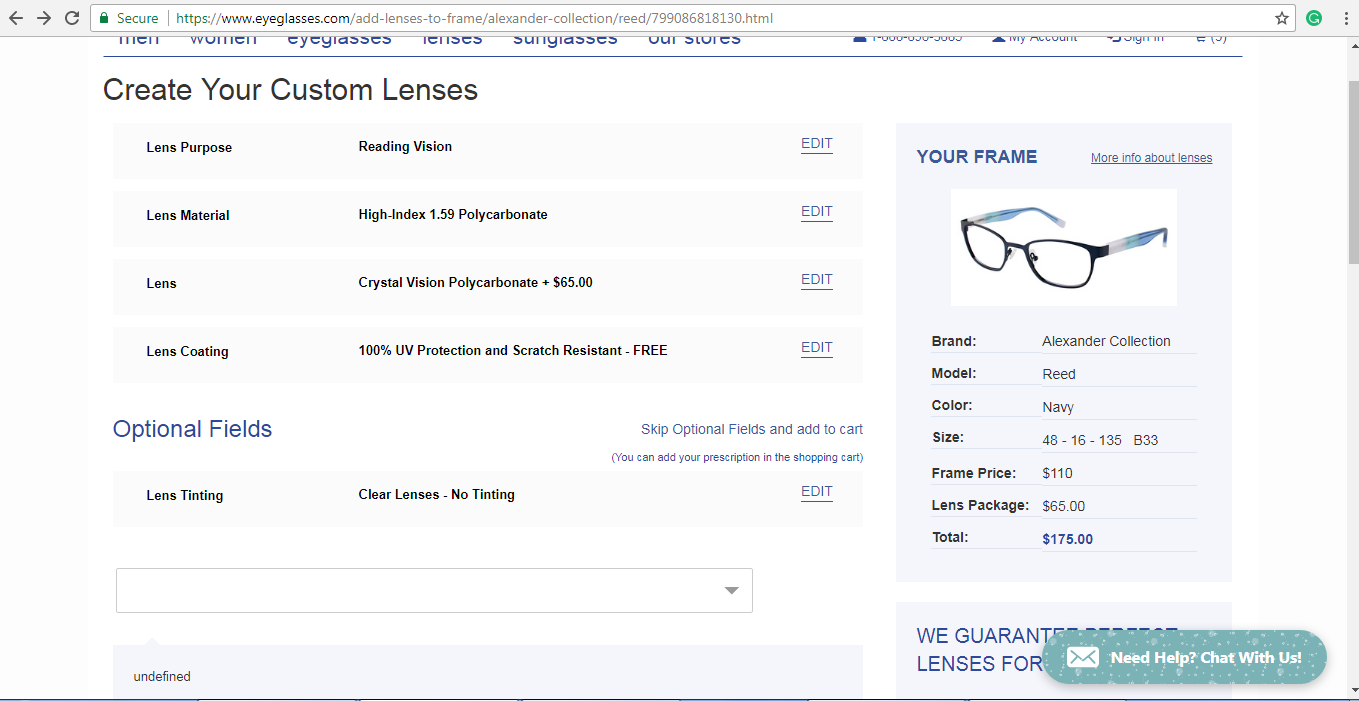 Eyeglasses.com lens customisation page