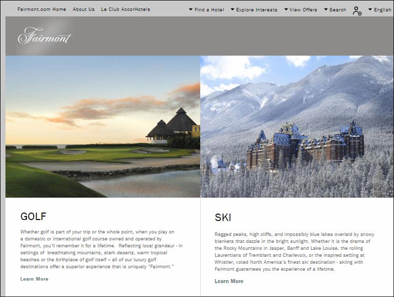 Fairmont Hotels Leisure page
