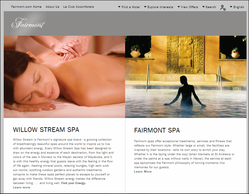 Fairmont Hotels spa page