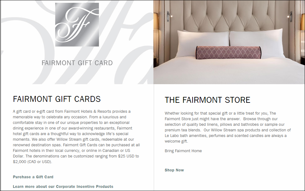 Fairmont Hotels Gifts