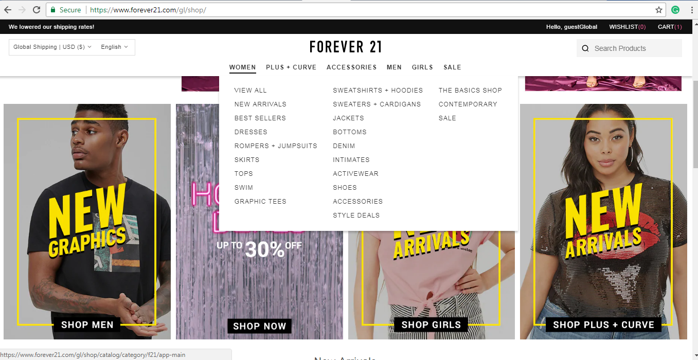 Forever 21 women's product page