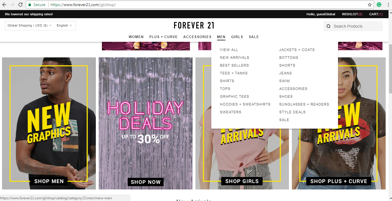 Forever 21 men's product page