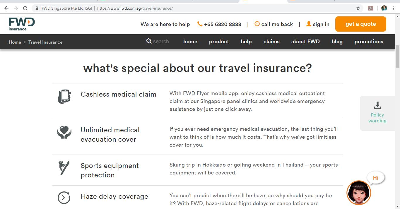 FWD Insurance travel insurance